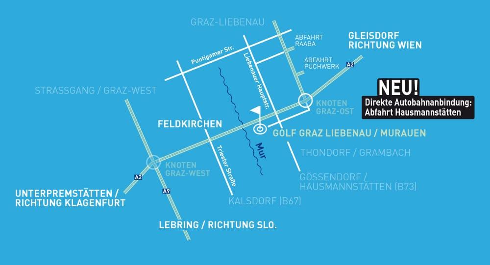 Anfahrtsplan Golf MurAuen